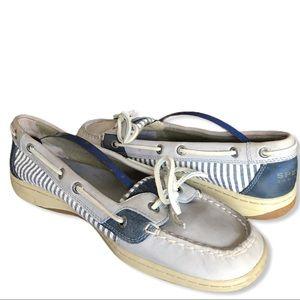 SPERRY TOP-SIDERS Seersucker Gray Blue Boat Shoes